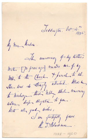 BLACKMORE Richard Doddridge - Autograph Letter Signed 1895 from the author of Lorna Doone