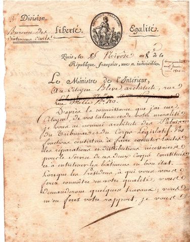 BONAPARTE Lucien - Letter Signed 1800 appointing an architect