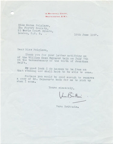 BRITTAIN Vera - Typed Letter Signed 1967 to the Poetry Society
