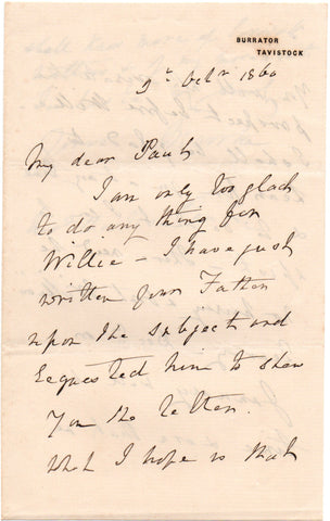BROOKE Sir James - Autograph Letter Signed 1860 waiting to know more of Sarawak matters