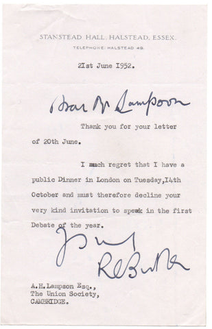 BUTLER Richard Austen - Typed Letter Signed 1952 to the Cambridge Union Society