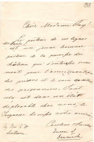 QUEEN CAROLINE AMALIE - Autograph Letter Signed welcoming Elizabeth Fry to Denmark