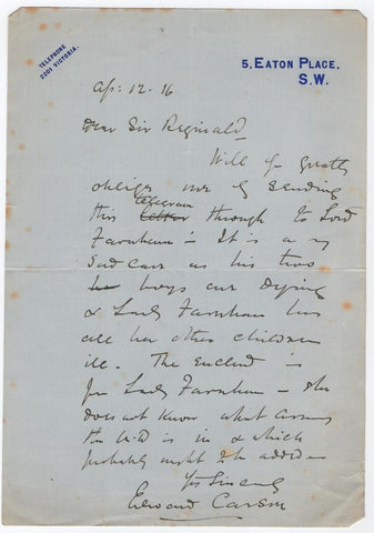 CARSON Sir Edward - Autograph Letter Signed 1916