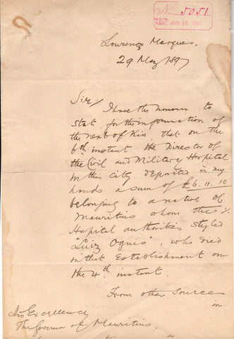 CASEMENT Sir Roger - Autograph Letter Signed 1897 as Consul in Lourenco Marques