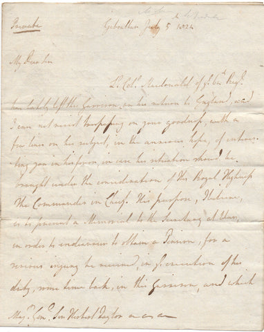 CHATHAM John Pitt, Lord - Autograph Letter Signed 1824 on behalf of a soldier