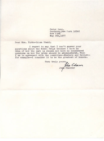 CHEEVER John - Typed Letter Signed 1977 regarding the Nobel Prize for Literature
