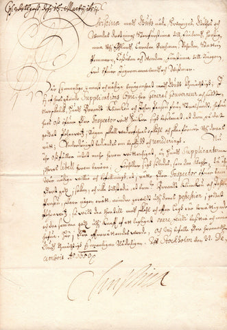 CHRISTINA Queen of Sweden - Letter Signed 1660 ordering an investigation