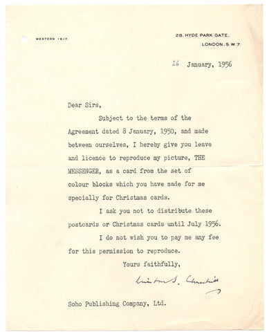CHURCHILL Sir Winston - Typed Letter Signed 1956 about one of his paintings
