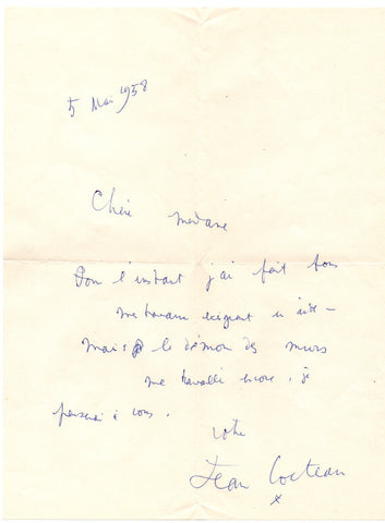 COCTEAU Jean - Autograph Letter Signed 1958 and the demon of walls