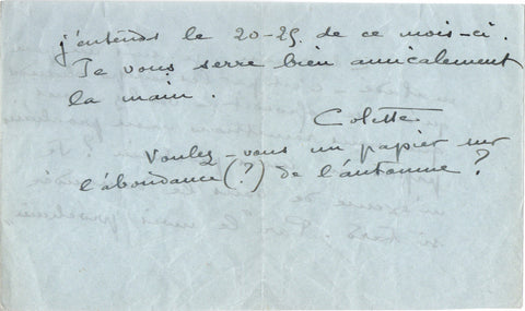 COLETTE Sidonie-Gabrielle - Autograph Letter Signed to a journalist regarding an article postponed