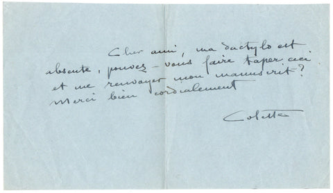 COLETTE - Autograph Letter Signed asking for a typist