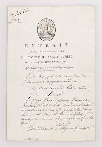 COMITE DE SALUT PUBLIC 1794 - exporting to Switzerland