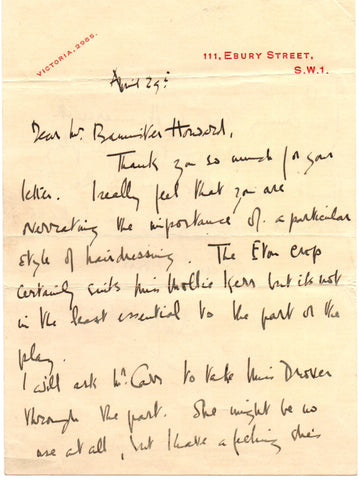 COWARD Noel - Autograph Letter Signed discussing a hairstyle in The Vortex