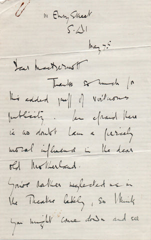 COWARD Noel - Autograph Letter Signed giving thanks for virtuous publicity