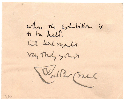 CRANE Walter - signature with last lines of a letter