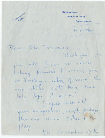 CROMPTON Richmal - Autograph Letter Signed 1958 about a mistake in a book