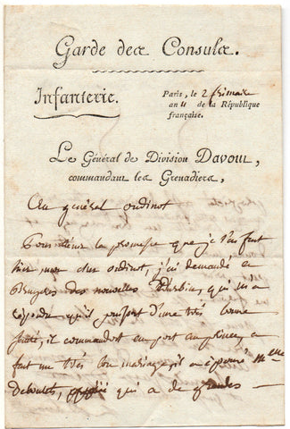 DAVOUT Louis-Nicolas - Autograph Letter Signed 1802 to Oudinot