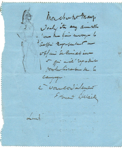 DETAILLE Edouard - Autograph Letter Signed with a small sketch