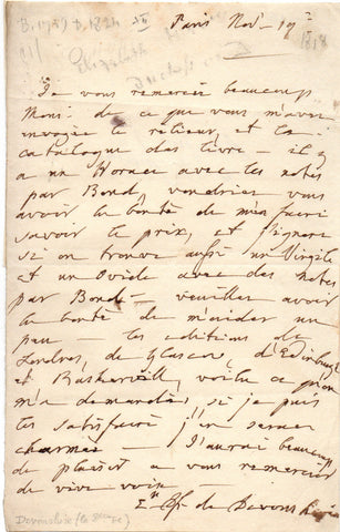 DEVONSHIRE Elisabeth Duchess of - Autograph Letter Signed requesting copies of Virgil and Ovid