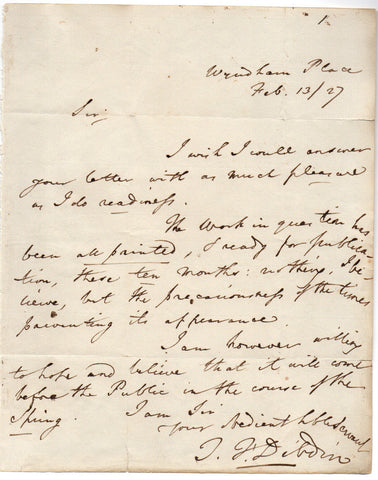 DIBDIN Thomas John - Autograph Letter Signed 1827 about a work to be published