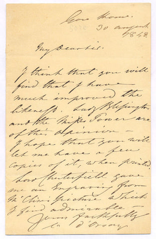 D ORSAY Alfred Count - Autograph Letter Signed 1848 mentioning Lady Blessington