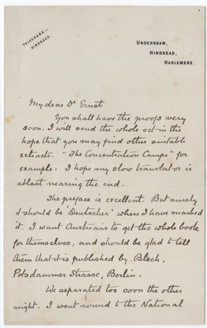 DOYLE Arthur Conan - Autograph Letter Signed 1902 regarding his work on South Africa