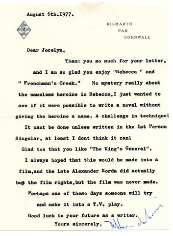 Du Maurier Daphne - Typed Letter Signed 1977 discussing Rebecca and her other novels