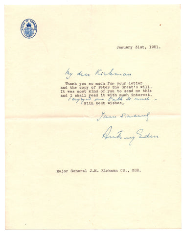 EDEN Anthony - Typed Letter Signed 1951