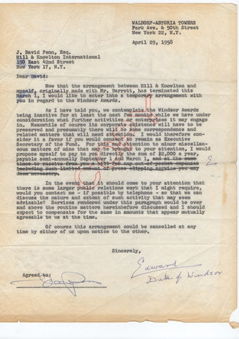 EDWARD VIII - Typed Letter Signed 1958 regarding the Windsor Awards