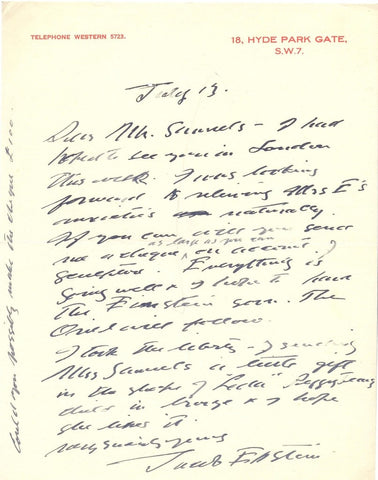 EPSTEIN Sir Jacob - Two Autograph Letters Signed about his work