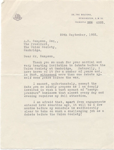 FAIRBANKS Douglas Jr - Typed Letter Signed 1952 declining to propose that 'England is Finished'