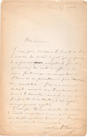 FAURE Gabriel - Autograph Letter Signed declining an invitation from the Concordia