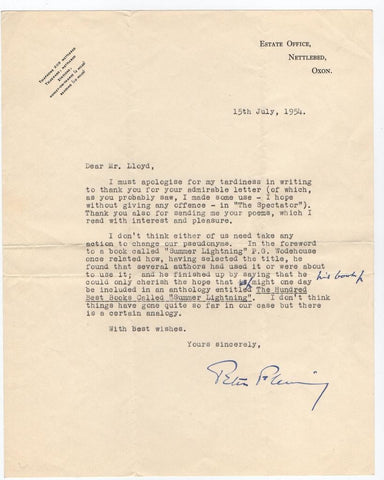 FLEMING Peter - Typed Letter Signed 1954 quoting P.G. Wodehouse