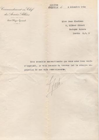 FOCH Ferdinand - Autograph Message Signed 1927 to the American Legion