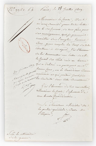 FOUCHE Joseph - Letter Signed July 1809 granting a passport