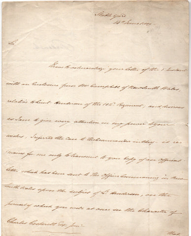 FREDERICK DUKE OF YORK - Letter Signed 1809 regarding problems in New South Wales