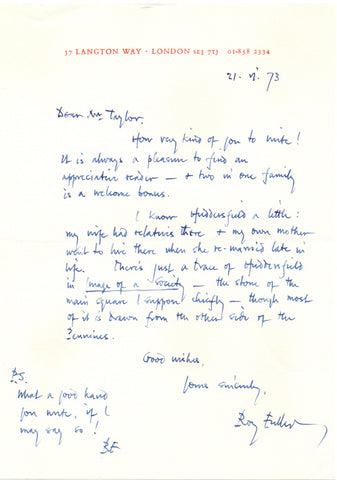 FULLER Roy - Autograph Letter Signed 1973 to an appreciative reader regarding Huddersfield