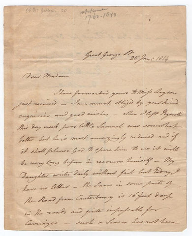 GARROW William - Autograph Letter Signed 1814