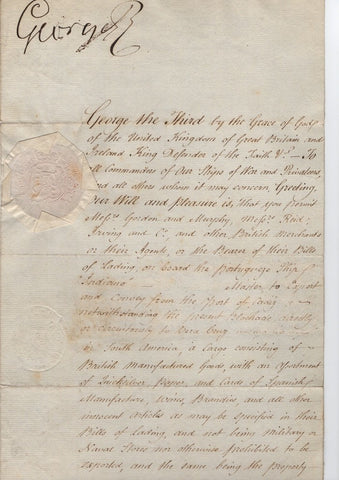 GEORGE III - Document Signed 1806
