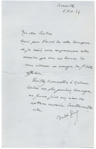 GIDE Andre - Autograph Letter Signed 1934 sending a message of support to a German scholar