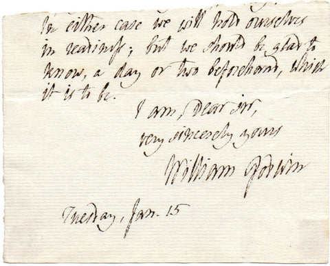 GODWIN William - Last lines of an Autograph Letter Signed