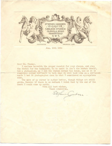 GOODEN Stephen - Typed Letter Signed 1934 regarding a bookplate