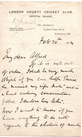 GRACE William Gilbert - Autograph Letter Signed 1904 hoping his sons will be elected to the IZ Cricket Club