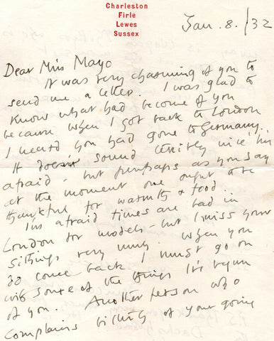 GRANT Duncan - Autograph Letter Signed 1932 to the artist Eileen Mayo