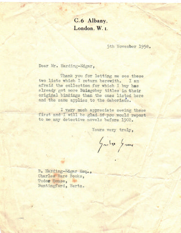 GREENE Graham - Typed Letter Signed 1958 to his bookseller about detective novels