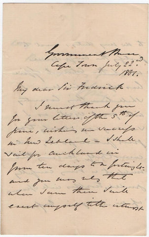 GREY Sir George - Autograph Letter Signed 1861 leaving for New Zealand
