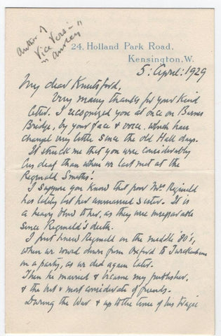GUTHRIE Anstey - Autograph Letter Signed 1929 about productions of his play