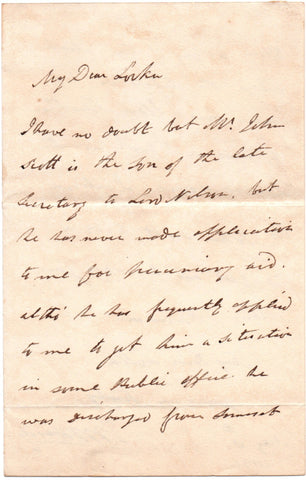 HARDY Thomas Masterman - Autograph Letter Signed 1836 recommending the son of Nelson's secretary