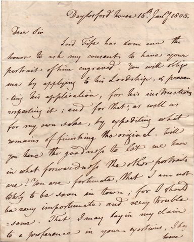 HASTINGS Warren - Autograph Letter Signed 1805 to Richard Cosway regarding an engraving
