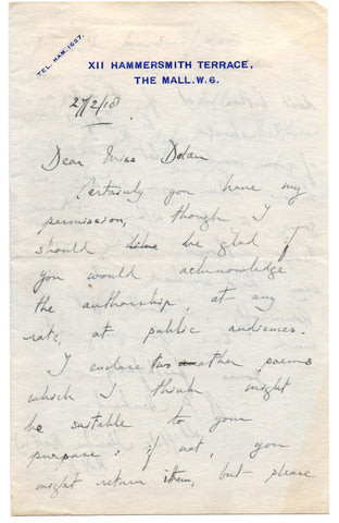 HERBERT Alan Patrick - Autograph Letter Signed 1918 sending some poems for a reading